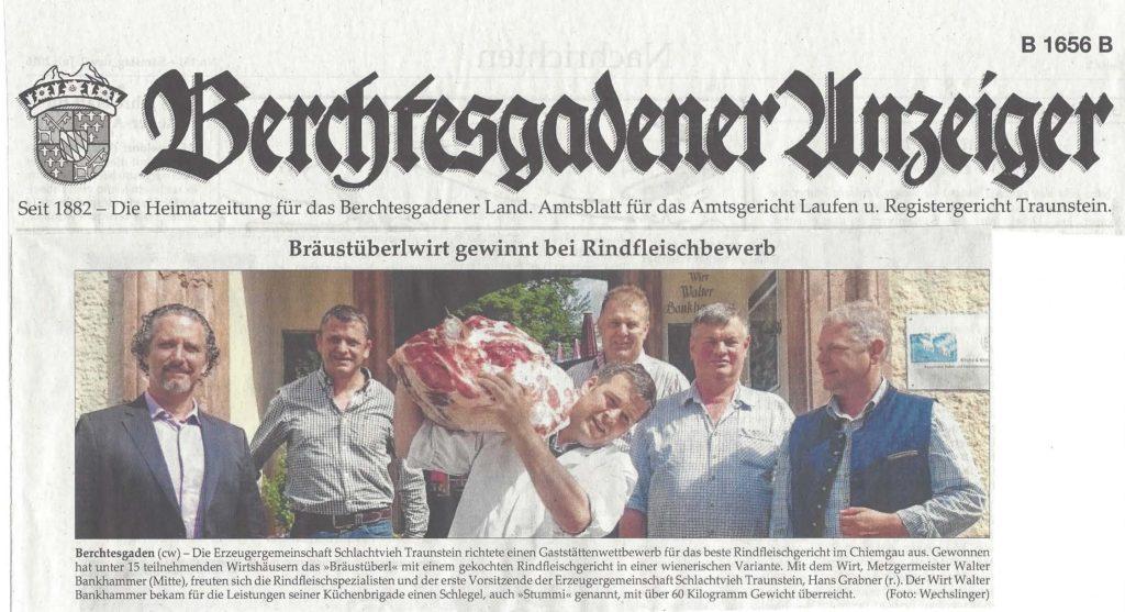 Bräustüberlwirt Walter Bankhammer (Mitte) gewinnt Rinderfleischbewerb der Erzeugergemeinschaft Schlachtvieh Traunstein.
